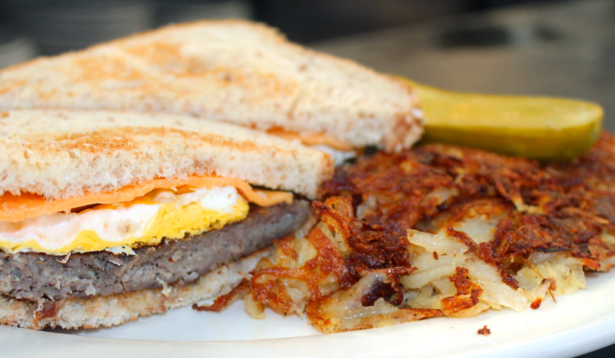 Sausage, Egg and Cheese Sandwich with Hash Browns