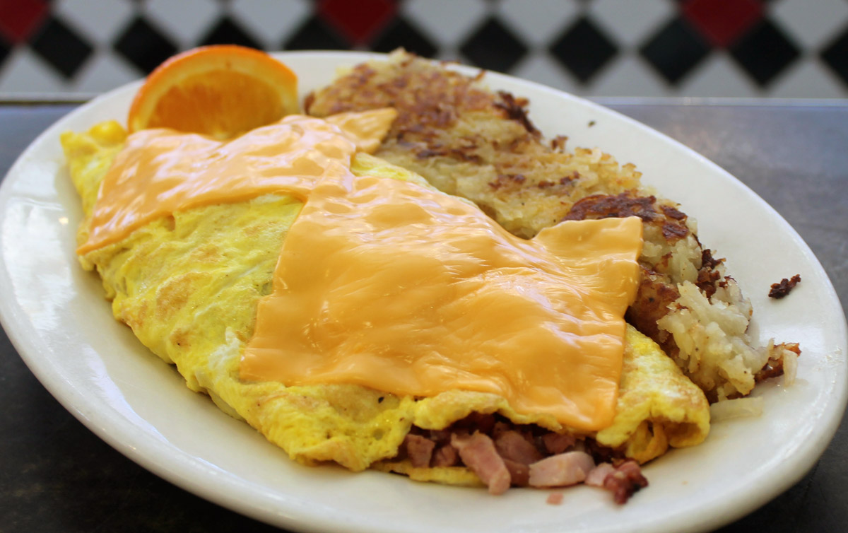 Ham and Cheese Omelette with Hash Browns
