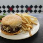 Double Hamburger w/ Grilled Onions & Fries
