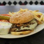 Mushroom Swiss Burger & Fries