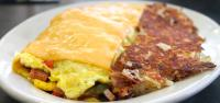 Palace Grill's Famous Denver Omelette and Hash Browns